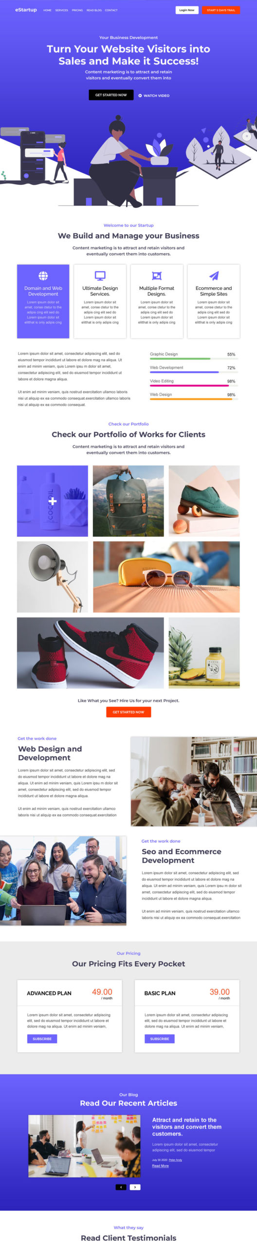 Agency Bootstrap Landing page