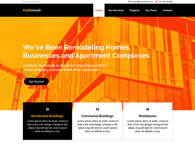 Construction Bootstrap Landing Page