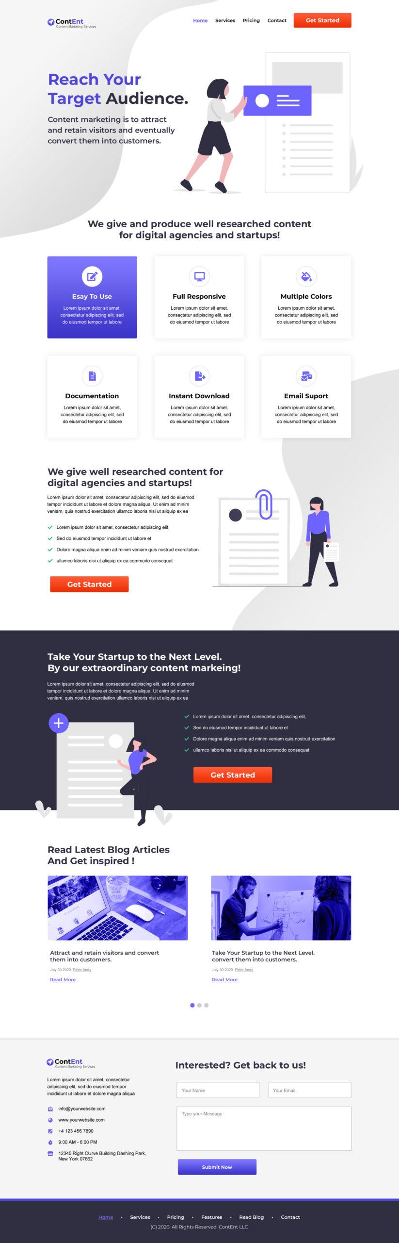 Content Marketing Startup Landing Page