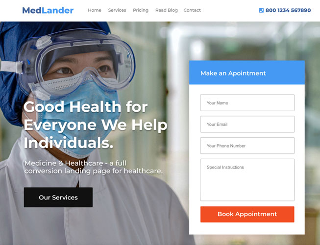 Medical and Health Care Landing Page