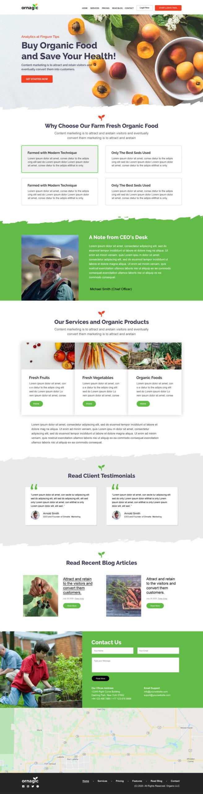 Organic Food Landing Page