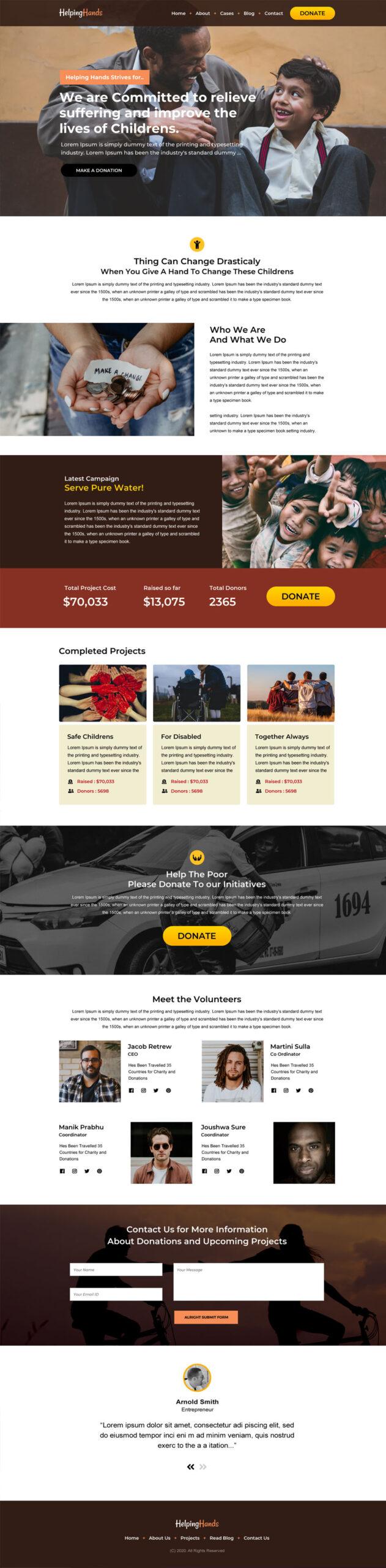 Non Profit & fund raising Landing Page